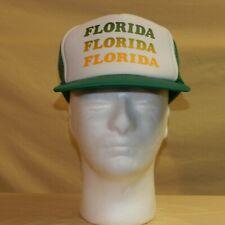 Vintage Florida Hat Snapback Trucker Cap Souvenir Mesh Green Yellow