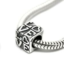 LOVE carved in cube-Heart- Genuine Solid 925 sterling silver European charm bead