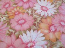 VTG Cannon Monticello No Iron Muslin Pink Flower Power 70s Sheet Fabric Cutter