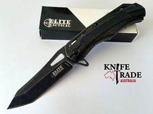 "Elite Tactical 4-1/2"" Folding Pocket Knife Flipper Liner Lock Tanto Knife EDC"