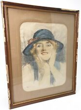 Antique Drawing Watercolor Charcoal Philippe SWYNCOP Portret Lady E/0508