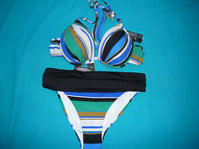 BIKINI 32A/B PLUNGE TOP & 8 ROLL TOP BRIEFS MULTI STRIPES NEXT SWIMWEAR BNWTS