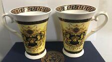 Elegant Greek Key Design 2 pcs Porcelain Mug Set  with Gift Box- Yellow