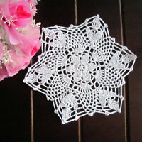 4Pcs/Lot White Vintage Hand Crochet Lace Doilies Snowflake Placemats 8inch