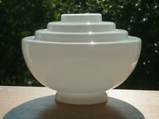 More details for vintage art deco white glass stepped pendant ceiling light shade 7