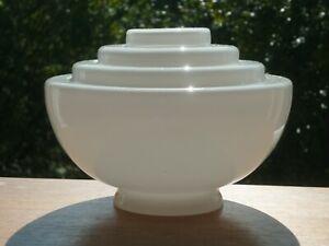 "Vintage Art Deco White Glass Stepped Pendant Ceiling Light Shade 7"" Diam."