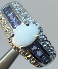 Genuine 14K White Gold Ring - Size 7 with 0.46 CT Opal, 20 Diamonds,8 Tanzanite