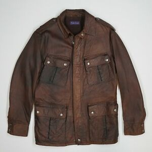 Ralph Lauren Purple Label (L) Mahogany Brown Military Lambskin Leather Coat