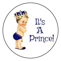 30 gold and blue It's a prince baby shower stickers boy royal crown party favors
