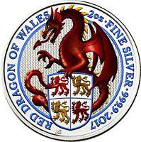 Großbritannien 5 Pfund 2017 Queen's Beasts Drache von Wales Silbermünze in Farbe