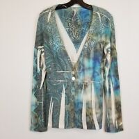 Cubism button front multicolor abstract print cardigan women's size Medium