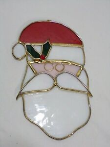 """Stained Glass Santa Claus Christmas Ornament Suncatcher 6.75"""" tall"""
