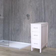 "12"" White Bathroom Vanity 3 Drawers Small Beside Cabinet Shelf Modern Mdf Wood"