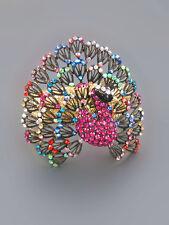 Gold Peacock Bangle With Multicolor Rhinestones