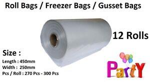 12 Rolls Produce Bag  Roll Bags Gusset Freezer Vegetable Kitchen Storage Food