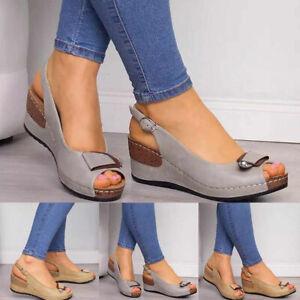 UK Womens Wedge Heel Slingback Sandals Peep Toe Summer Beach Slippers Shoes Pump
