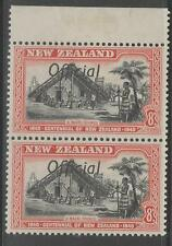 "NEW ZEALAND SGO149/a 1940 8d BLACK & RED ""JOINED FF"" MNH"
