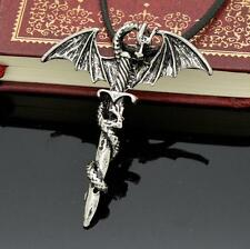 2015 HOT Men's Flying Dragon Sword Titanium Stainless Steel Pendant Necklace TIA