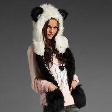 3 in 1 Warm Faux Animal Fur Hat Fluffy Plush Cap Hood Scarf Shawl Gloves Panda