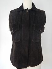 Patrizia Pepe Womens Dark Chocolate Brown Leather Suede Waistcoat Size Large