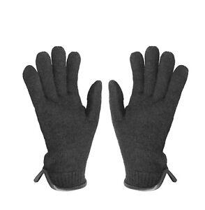 tittimitti 100% Virgin Wool Men's Women's Gloves with Genuine Leather Trim.