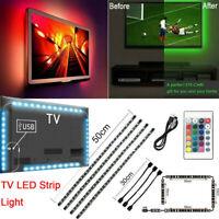 TV LED Backlight 4x50CM USB 5050 RGB LED Strip Light Remote Kit 5V 30Leds/M 2020