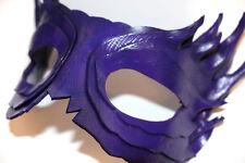 Feather Mask Purple Handmade Leather Venetian Masquerade