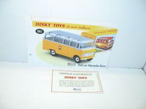 1 Sheet + Certif. Dinky Toys Atlas Repro Ref 541.J, Bus Mercedes Benz Yellow
