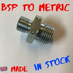BSP to Metric adaptor fitting hydraulic steel oil pump uk made nipple stud