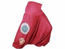 Sarouel Femme marron Pantalon Ethnique Aladin Harem Pant 100% Coton rouge
