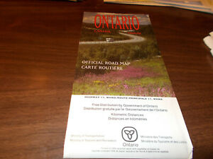 1990/91 Ontario Province-issued Vintage Road Map