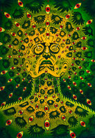THE EYES BY ALEX GREY -2 GREEN UV HANDGEMALT SCHWARZLICHT WANDBEHANG PSYCHEDELIC
