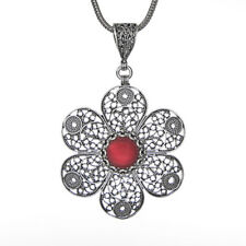 Filigree Flower Pendant With Silver Chain 925 Sterling Silver & Red Jade
