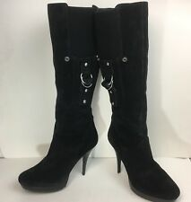 4817570ab37 Guess HEARNE Womens US 9.5M Black suede tall Boots High Heels zip stilleto  M2