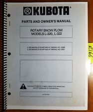 Kubota L-220 SN 0326- L-322 0331- Rotary Snow Plow Snowblower Owner Parts Manual