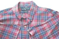 Red Plaid Ralph Lauren Blake Large Mens Shirt Collar Button Up Cotton Casual