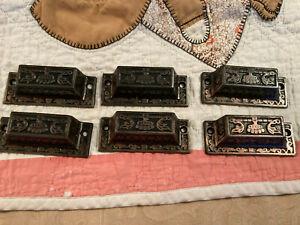 6 Matching Late 1800's Victorian Bin Pulls, Cast Iron W/bronze Highlights, Free