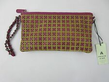 PEACH PINK CLUTCH BAG PURPLE & GOLD with MOTH PATTERNED LINING ONLY £50 FREE P&P