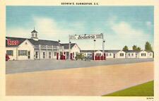GODWIN'S Summerton, SC Esso Gas Station Roadside Vintage Linen Postcard ca 1940s