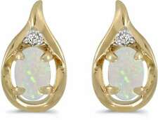 10 Quilates ovalado de oro amarillo ópalo y Diamante Pendientes e1241-10