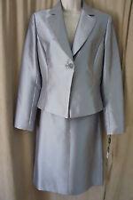 "Tahari ASL Luxe Skirt Suit Sz 6 Silver ""Oscar"" Business Cocktail Evening suit"