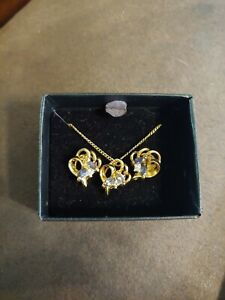 *BNIB*~ 3 PIECE MATCHING SET~ Gold Simulated Sapphire Necklace and Post Earrings
