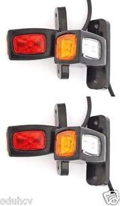 LED Position Marker Lights 4x12/24V e-mark Side Rear Lamps Truck Trailer Lorry
