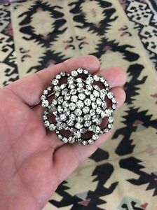 Antique Victorian Hatpin Clear Rhinestone Domed Flower