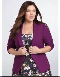 Torrid Purple Open Front Blazer Sleek Faux Pockets Work Size 3X Ruched Sleeve