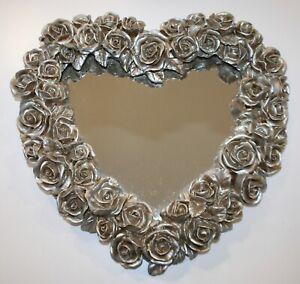 "Decoline Heart Shaped Wall Mirror Roses Handmade Hand-painted Shabby Chic 13"""