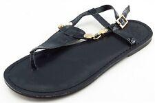 Vince Camuto Size 6 M Black T-Strap Leather Women Sandal Shoes