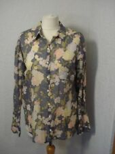 BNWT H&M blue & pink/ivory/green floral/rose print organic cotton shirt 10-12