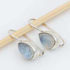 Mondstein Ohrhänger echt Silber 925 Ohrringe Tropfen Sterlingsilber Weiß hvts