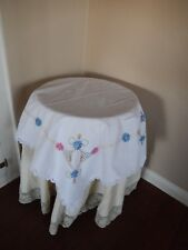 "Linen Embroidered Flowers White Cotton Tea Tablecloth tableTopper 36""X33"""